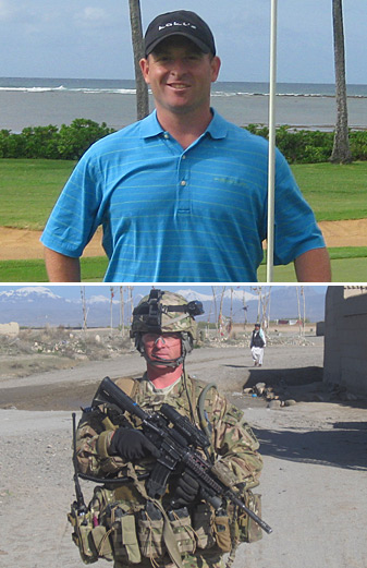 Sergeant First Class Zachary Conklin at Waialae C.C. on Oahu (top photo), and on patrol in Ghazni, Afghanistan, in May 2012.