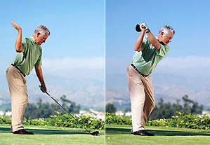 How far you can naturally bring your right hand behind you is how far back you should swing the club on your backswing.