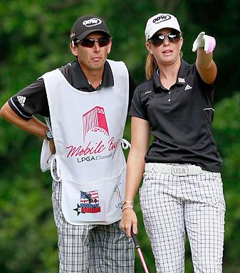 LPGA caddies, such as Paula Creamer's longtime looper Colin Cann, will wear their players' twitter handles on their bibs.
