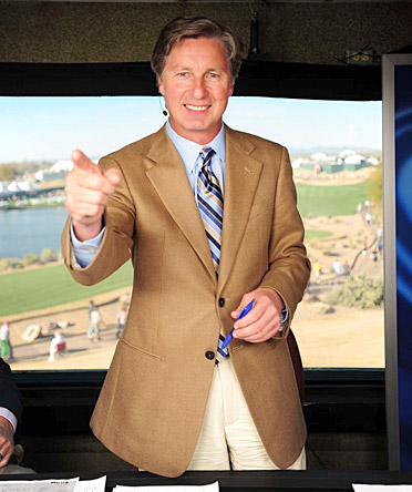 Brandel Chamblee in the booth at the 2010 Waste Management Open at TPC Scottsdale.