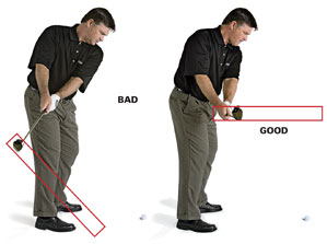 <strong>BAD</strong> (<i>left</i>) Too much shoulder turn forces the clubhead back on a shallow plane.                 <br /><br />                 <strong>GOOD</strong> (<i>right</i>) Start the club back with your hands to keep it on plane.