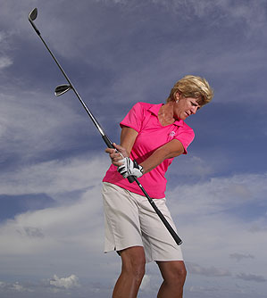 You're on plane if the shafts stay together.<br />                  You're on plane if the shaft points at the ball.