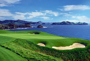 The oceanfront fifth hole at Kauri Cliffs.