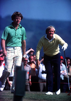 Watson and Nicklaus during their thrilling duel at Turnberry in 1977.
