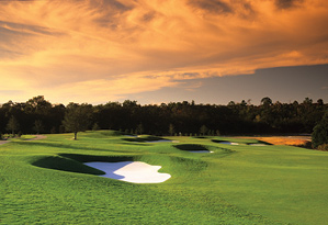The 7th hole at the Nicklaus-designed Tradition Course at Reunion.
