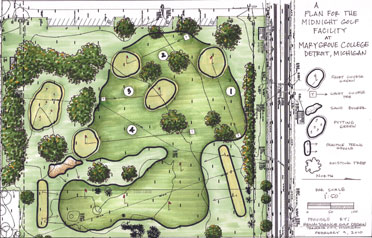 """The preliminary plan for the Midnight Golf facility calls for a 16-bay driving range; a short-game practice area, including a bunker and a green; and four short practice holes with grass greens. <a href=""""http://www.golf.com/golf/i/tours/2010/02/doak-routing-detroit2_660x410.jpg""""><strong>View full size</strong></a>"""