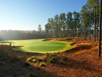 The North Carolina sun shines on the 13th hole at the formerly private Dormie Club.