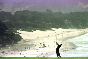 Take in the views while strolling through Pebble Beach, where Tiger Woods won the U.S. Open in 2000.