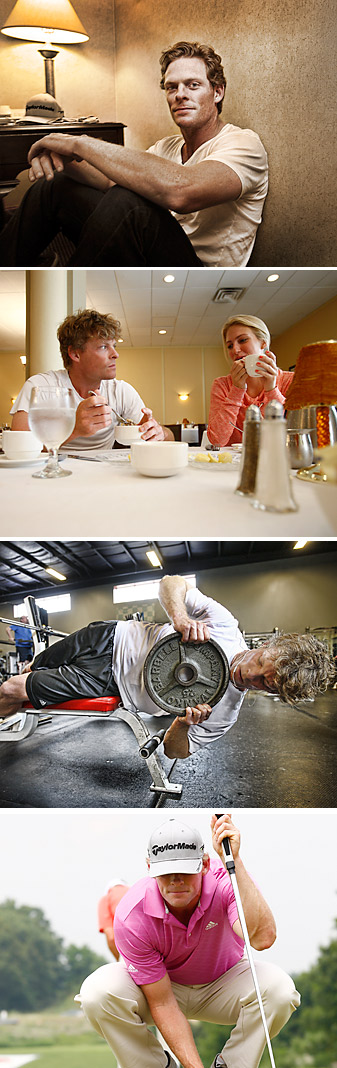 OFF DUTY: With a 1:39 p.m. tee time on Friday, Driscoll had time to kill. He began the day with a light breakfast with his girlfriend, April (top), then visited a local gym (middle), then headed to the course for a session on the practice green