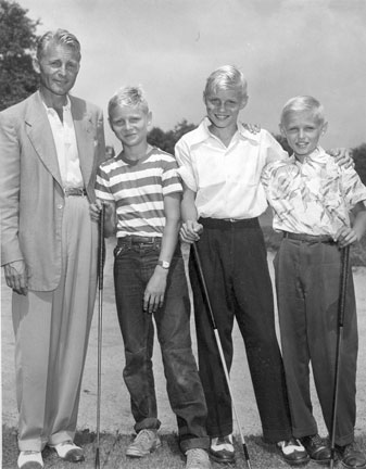 Blond ambition: Elmer with (from left) Barry, Jon and Chip in 1950.