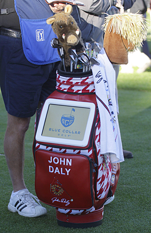 John Daly says he hopes to watch football on the television in his golf bag.