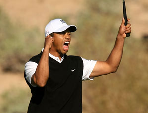 Tiger Woods played the final five holes in 5-under par