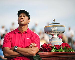 Woods has won 15                 of the 26 World Golf Championships,                 including three Match Plays.