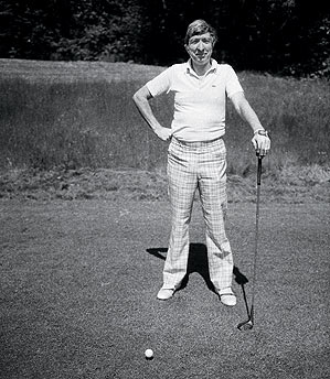 Updike played to a 21.8 handicap at the Myopia Hunt Club.