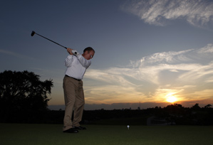 Downtime: Instead of designing courses, Tom Fazio is playing them.