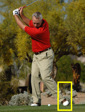 Roll your left foot on real swings for pain-free turning power.