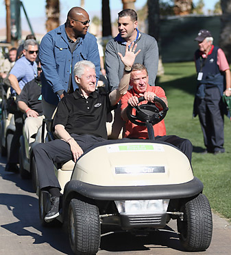 PGA Tour commissioner Tim Finchem with Bill Clinton at the Humana Challenge.
