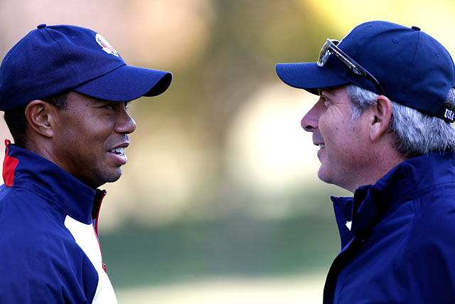 Tiger Woods and Fred Couples at the 2012 Ryder Cup. Couples was an assistant captain for the 2012 U.S. team.