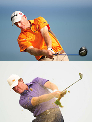 Jim Furyk, top, and Steve Elkington have an advantage in experience, if not length off the tee.