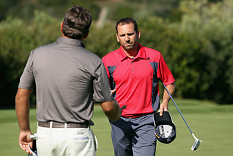 Sergio Garcia missed a short putt to lose to Graeme McDowell.