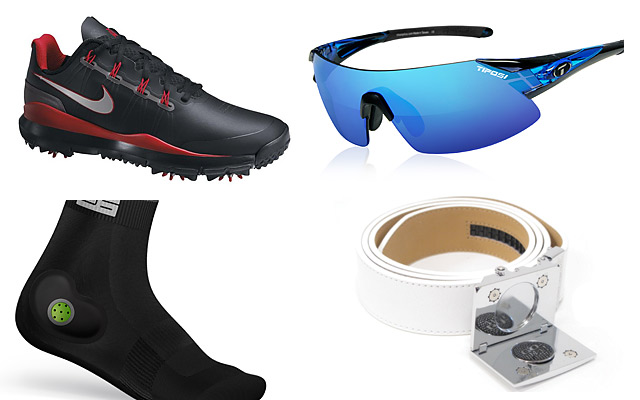 Clockwise from left: Nike TW '14 Shoes; Tifosi Podium XC glasses; Stable 26 Footgear; Nexbelt Go In! Series belt