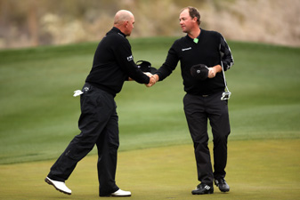 Peter Hanson, right, defeated Thomas Bjorn, 3 and 2.