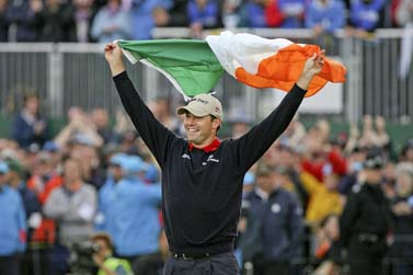 Padraig Harrington celebrates his first major win, the 2007 Open Championship at Carnoustie.