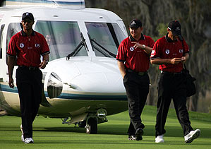 Tiger Woods, Charles, J.B. Holmes and Charles Howell III of Team Isleworth arrived at Lake Nona Country Club by helicopter.