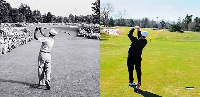 Our average Joe (right) tries the same shot that made Hogan a legend at Merion.
