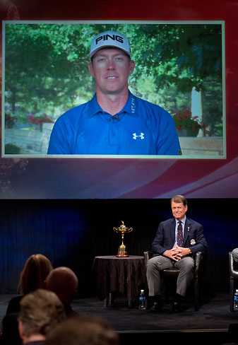 Hunter Mahan appears via video at the Ryder Cup captain's pick press conference in New York City.
