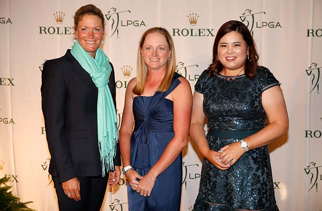 Suzann Pettersen, Stacy Lewis, and Inbee Park pose on the red carpet during the LPGA Rolex Awards reception at Tiburon Golf Club on November 22, 2013 in Naples, Fla.