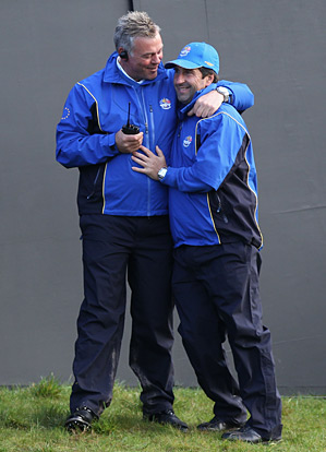 Jose Maria Olazabal, right with 2010 European Ryder Cup captain Colin Montgomerie, is the favorite to be Europe's next captain.