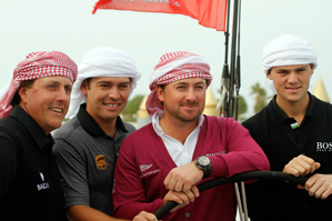 From left to right: Phil Mickelson, Louis Oosthuizen, Graeme McDowell and Martin Kaymer will be teeing it up this week in Abu Dhabi.