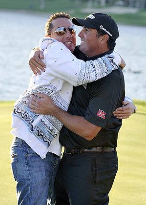 Pat Perez was greeted by his brother on the 18th green.