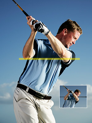 To swing the club properly                 around your body (and keep                 fat shots and slices at bay),                 think about keeping your                 elbows level at the top.