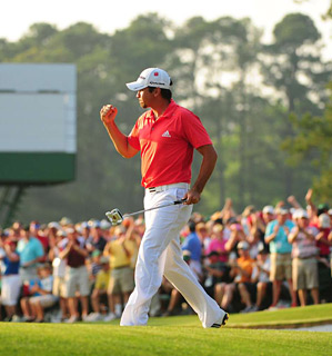 PUMPED: With birdies on the last two holes, Jason Day tied for second, the best finish by a Masters rookie in 20 years.