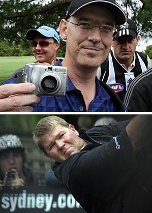 """Brad Clegg, a spectator who tried to take a picture of John Daly at close range, had his camera smashed by the golfer. Asked if he would seek compensation, Clegg said: """"I don't think I'll be chasing him for the money. He's a big bloke!"""""""