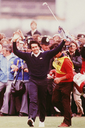 Several young boys and girls will wear a replica of the navy blue outfit that Ballesteros wore for his first British Open win in 1979, when he was 22 years old.