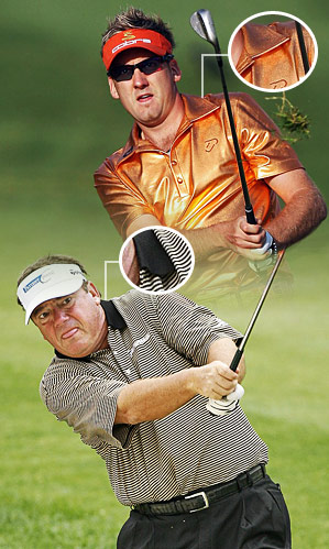 The longer collar worn by Poulter flatters (top), while the traditional size makes Joey Sindelar look jowly.