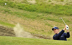 Luke Donald practiced on Wednesday from one of the many bunkers at Royal St. George's.