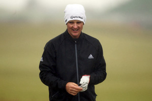 Justin Rose got his practice round in on Wednesday despite the stormy weather.