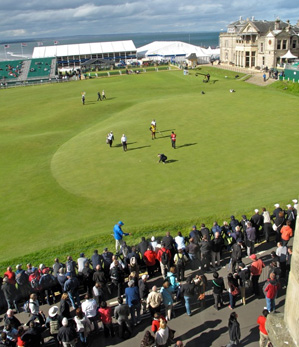 The Links is a narrow street near the 18th green at St. Andrews, where fans can catch the action for free.