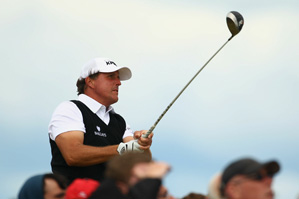 Phil Mickelson made three birdies, four bogeys and an eagle on Friday.