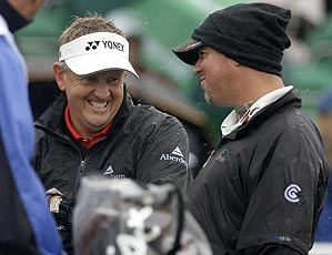 Colin Montgomerie and Boo Weekley were grouped with Mike Weir (not pictured) in the first round.