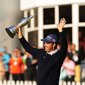 """""""I'm quite enjoying this,"""" Harrington said, holding the claret jug. """"I don't think I'll get down off the stage."""""""