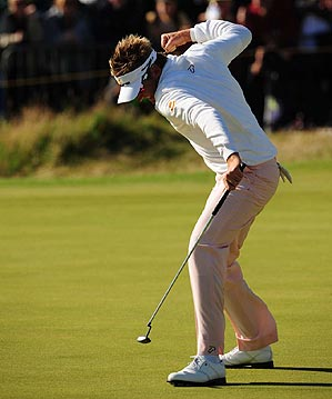 Poulter finished at seven under par, alone in second place.
