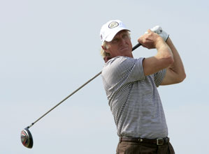 Greg Norman was four over for the day until he made an eagle on 16 and a birdie on 18.