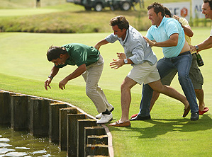 Larrazabal was pushed into the water by fellow Spanish golfers after his French Open win.
