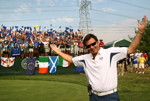 Nick Faldo at the Ryder Cup in September.