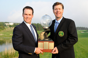 Dan Jennings, right, and Brad Shaw of Los Angeles Country Club defeated Kelly Miller and David Abell of Pine Valley Golf Club to win the World Club Championship.
